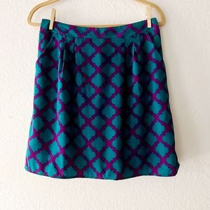 Francesca's Collection Purple and Teal Skirt SZ L